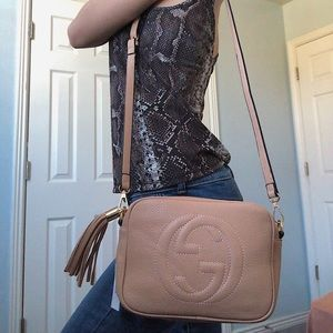 Gucci soho disco bag in light nude with GG logo